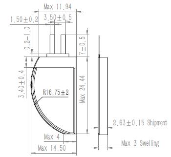 D Shape Battery GRP3014025